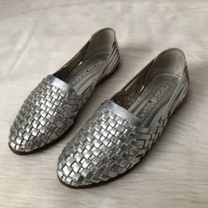 Vintage Esprit Silver Huarache Sandals Woven Flats